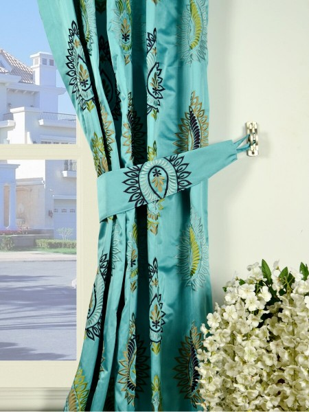 Silver Beach Embroidered Extravagant Goblet Faux Silk Curtains Decorative Tiebacks
