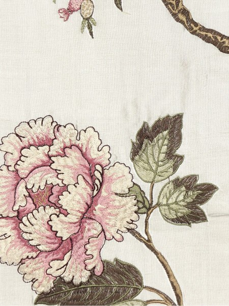 Halo Embroidered Peony Tab Top Dupioni Silk Curtains (Color: Eggshell)