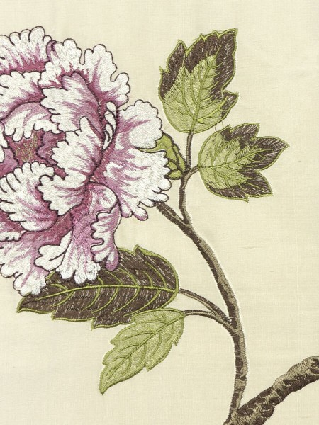 Halo Embroidered Elegant Peony Dupioni Silk Fabric Sample (Color: Linen)