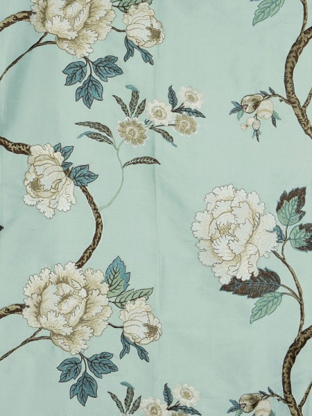 Halo Embroidered Peony Tab Top Dupioni Silk Curtains (Color: Magic mint)