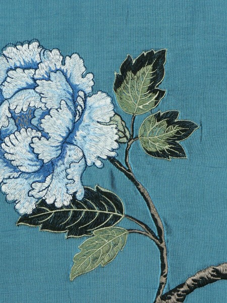 Halo Embroidered  Peony Back Tab Dupioni Silk Curtains (Color: Celestial blue)