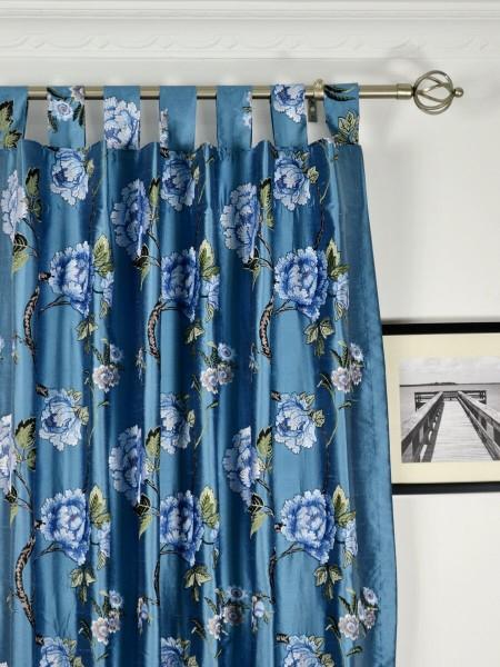 Halo Embroidered Elegant Peony Dupioni Silk Custom Made Curtains (Heading: Tab Top)