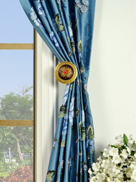 Halo Embroidered Peony Tab Top Dupioni Silk Curtains Holdbacks