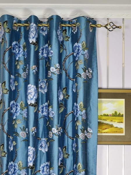 Halo Embroidered Peony Grommet Dupioni Silk Curtains Heading Style