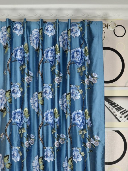 Halo Embroidered  Peony Back Tab Dupioni Silk Curtains Heading Style