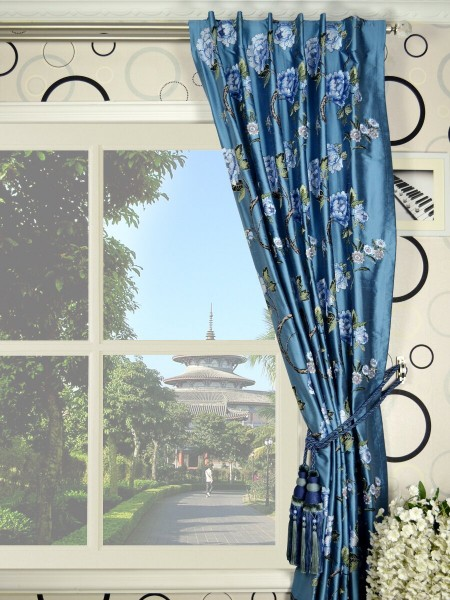 Halo Embroidered  Peony Back Tab Dupioni Silk Curtains