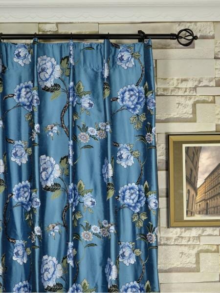 Halo Embroidered Peony Single Pinch Pleat Dupioni Silk Curtains Heading Style
