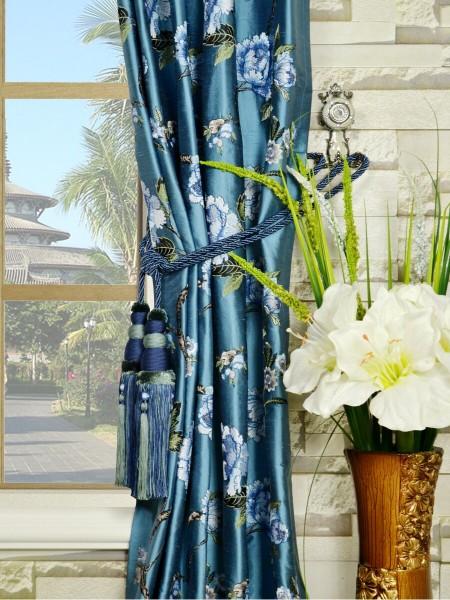 Halo Embroidered Peony Single Pinch Pleat Dupioni Silk Curtains Tassel Tiebacks