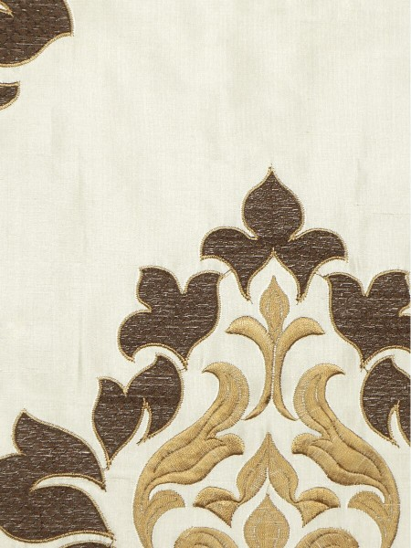 Halo Embroidered Medium-scale Damask Dupioni Silk Fabric Sample (Color: Eggshell)