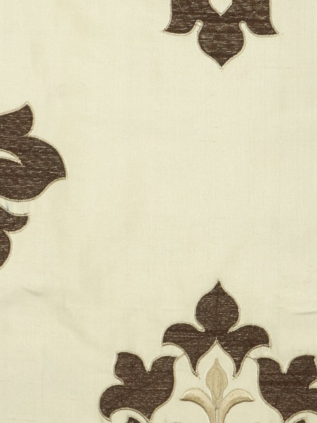 Halo Embroidered Medium-scale Damask Dupioni Silk Fabric Sample (Color: Linen)
