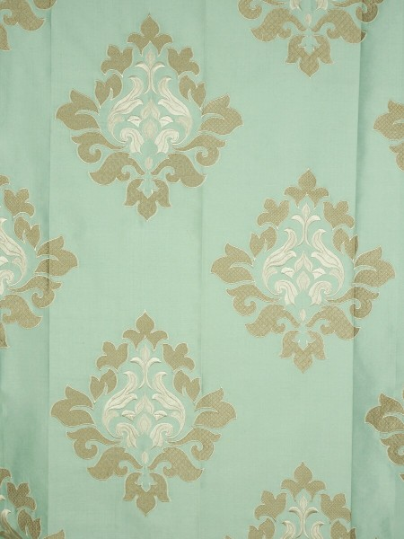 Halo Embroidered Medium-scale Damask Dupioni Silk Fabric Sample (Color: Magic mint)