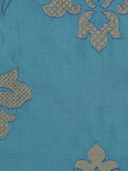 Halo Embroidered Medium-scale Damask Dupioni Silk Custom Made Curtains (Color: Celestial blue)