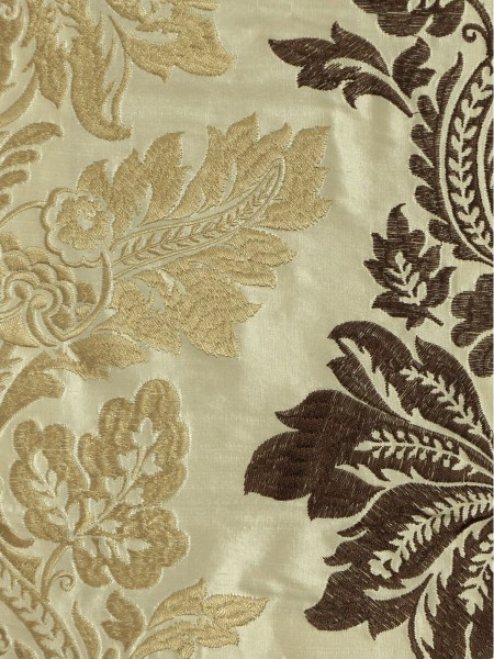 Halo Embroidered Vase Damask Tab Top Dupioni Curtains (Color: Linen)