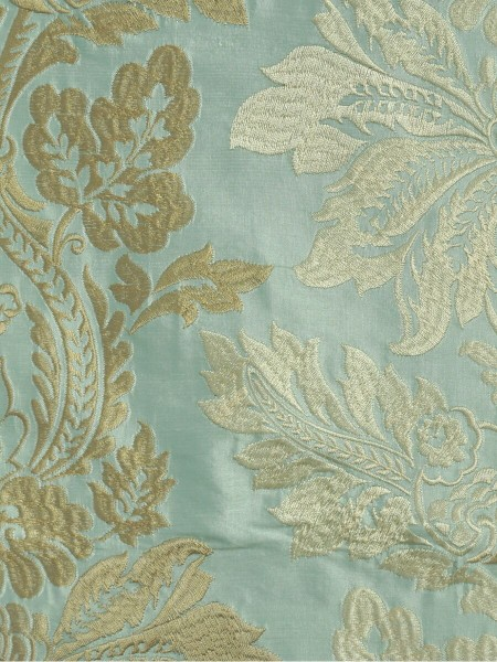 Halo Embroidered Vase Damask Grommet Dupioni Curtains (Color: Magic mint)