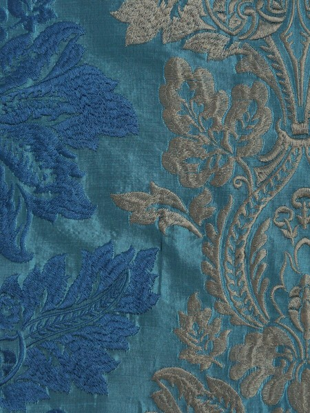 Halo Embroidered Vase Damask Tab Top Dupioni Curtains (Color: Celestial blue)