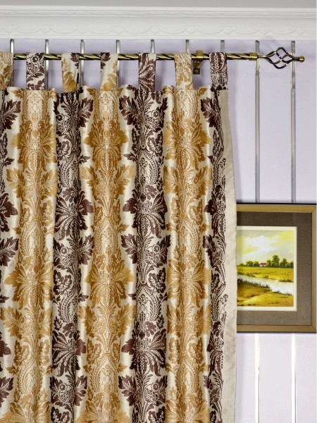 Halo Embroidered Vase Damask Tab Top Dupioni Curtains Heading Style