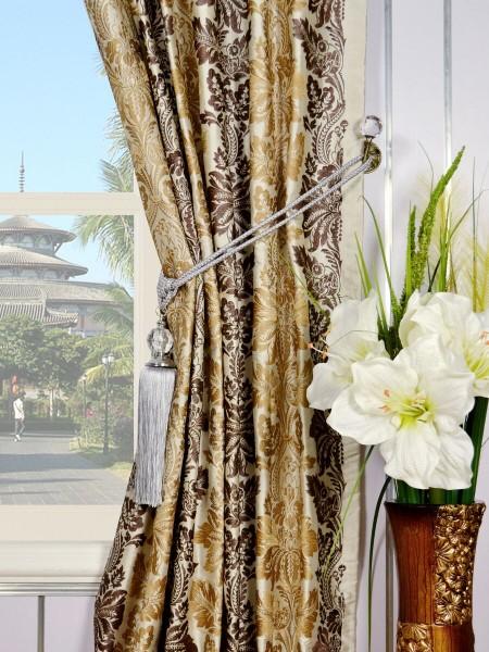 Halo Embroidered Vase Damask Tab Top Dupioni Curtains Tassel Tiebacks