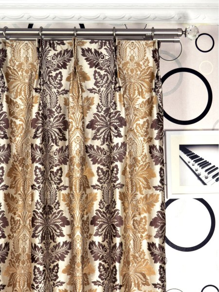 Halo Embroidered Vase Damask Double Pinch Pleat Dupioni Curtains Heading Style