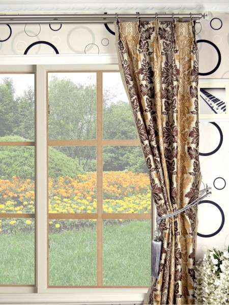 Halo Embroidered Vase Damask Double Pinch Pleat Dupioni Curtains