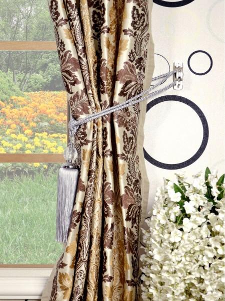 Halo Embroidered Vase Damask Double Pinch Pleat Dupioni Curtains Tassel Tiebacks