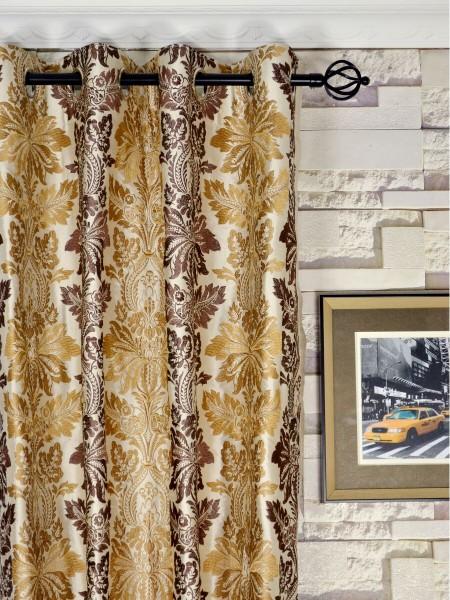Halo Embroidered Vase Damask Dupioni Silk Custom Made Curtains (Heading: Grommet)