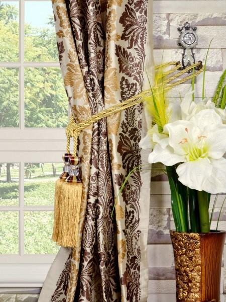 Halo Embroidered Vase Damask Grommet Dupioni Curtains Tassel Tiebacks