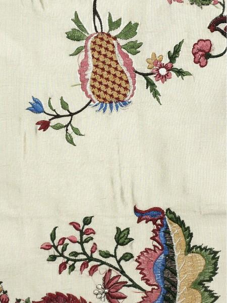 Halo Embroidered Multi-color Scenery Dupioni Silk Custom Made Curtains (Color: Eggshell)