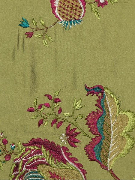 Halo Embroidered Multi-color Scenery Dupioni Silk Custom Made Curtains (Color: Olive)