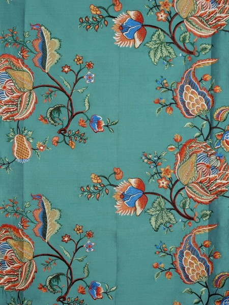 Halo Embroidered Multi-color Scenery Dupioni Silk Fabric Sample (Color: Teal green)