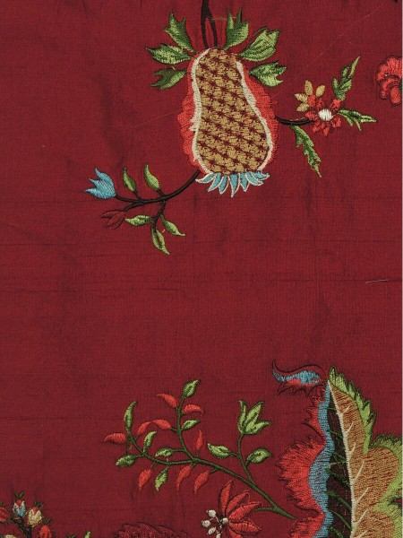 Halo Embroidered Multi-color Scenery Dupioni Silk Fabric Sample (Color: Burgundy)
