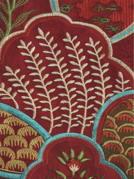 Halo Embroidered Lively Plants Dupioni Silk Custom Made Curtains (Color: Burgundy)