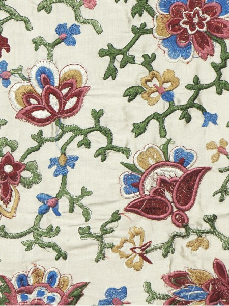 Halo Embroidered Elegant Design Dupioni Silk Fabric Sample (Color: Eggshell)