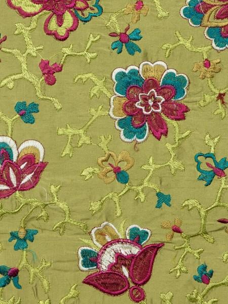 Halo Embroidered Elegant Design Dupioni Silk Fabric Sample (Color: Olive)