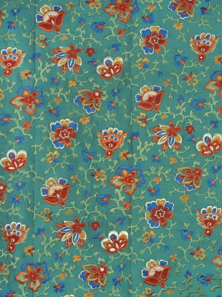Halo Embroidered Elegant Design Dupioni Silk Fabric Sample (Color: Teal green)