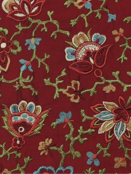 Halo Embroidered Elegant Design Dupioni Silk Fabric Sample (Color: Burgundy)