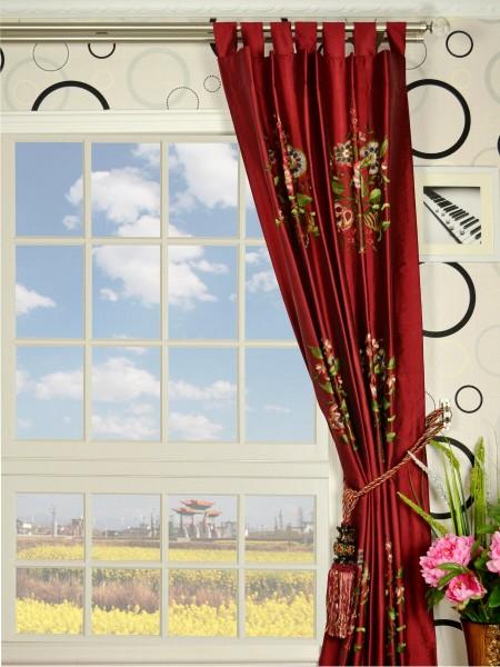Halo Embroidered Vase Tab Top Dupioni Silk Curtains