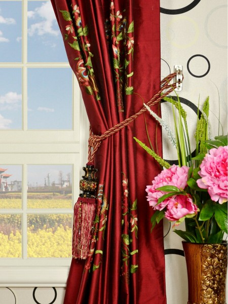Halo Embroidered Vase Tab Top Dupioni Silk Curtains Tassel Tiebacks