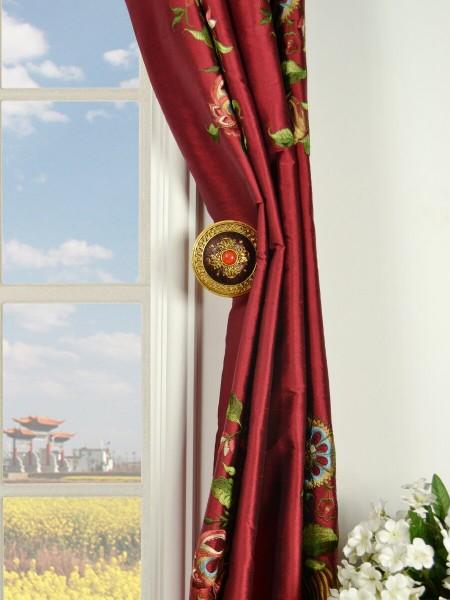 Halo Embroidered Vase Grommet Dupioni Silk Curtains Holdbacks