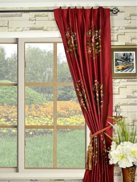 Halo Embroidered Vase Back Tab Dupioni Silk Curtains