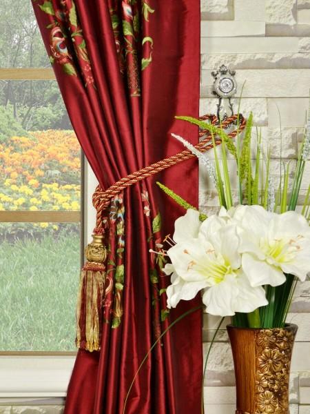 Halo Embroidered Vase Back Tab Dupioni Silk Curtains Tassel Tiebacks