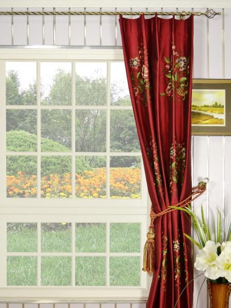 Halo Embroidered Vase Single Pinch Pleat Dupioni Silk Curtains
