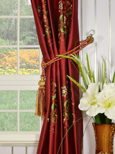 Halo Embroidered Vase Single Pinch Pleat Dupioni Silk Curtains Tassel Tiebacks