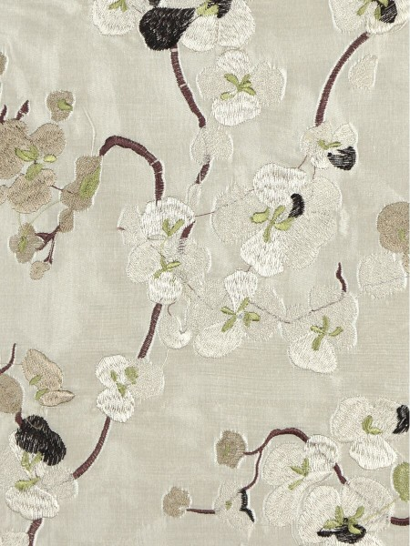 Halo Embroidered Four-leaf Clovers Rod Pocket Dupioni Silk Curtains (Color: Eggshell)