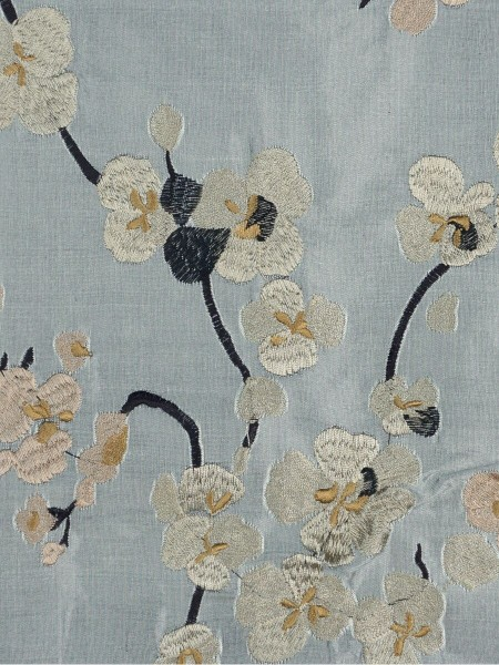 Halo Embroidered Four-leaf Clovers Rod Pocket Dupioni Silk Curtains (Color: Ash grey)