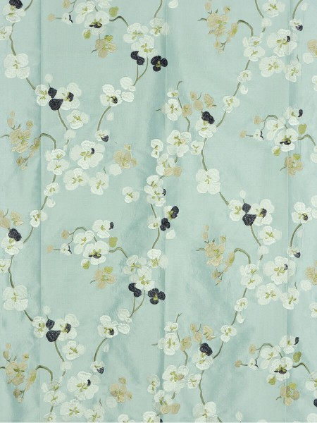 Halo Embroidered Four-leaf Clovers Rod Pocket Dupioni Silk Curtains (Color: Magic mint)