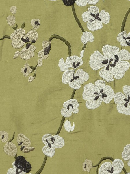 Halo Embroidered Four-leaf Clovers Double Pinch Pleat Dupioni Silk Curtains (Color: Olive)