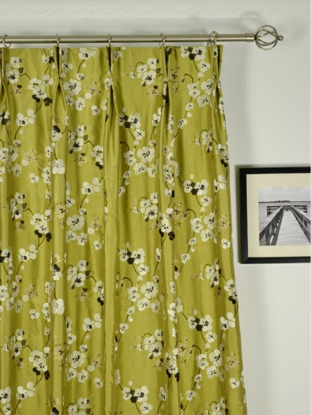 Halo Embroidered Four-leaf Clovers Double Pinch Pleat Dupioni Silk Curtains Heading Style