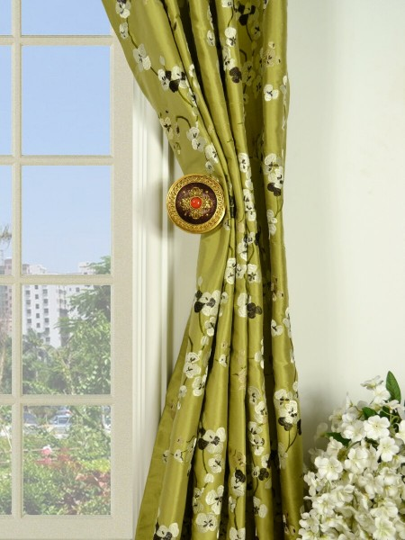 Halo Embroidered Four-leaf Clovers Double Pinch Pleat Dupioni Silk Curtains Holdbacks