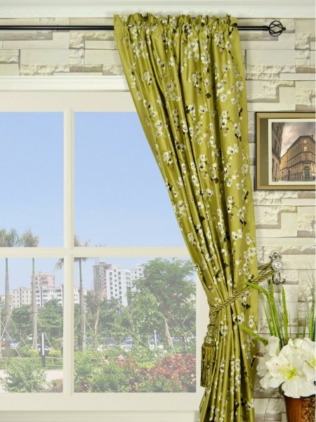 Halo Embroidered Four-leaf Clovers Rod Pocket Dupioni Silk Curtains