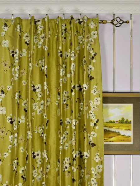 Halo Embroidered Four-leaf Clovers Back Tab Dupioni Silk Curtains Heading Style